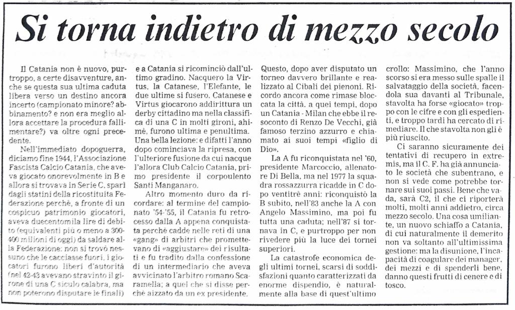 """01.08.1993: Si torna indietro di mezzo secolo, """"La Sicilia"""""""