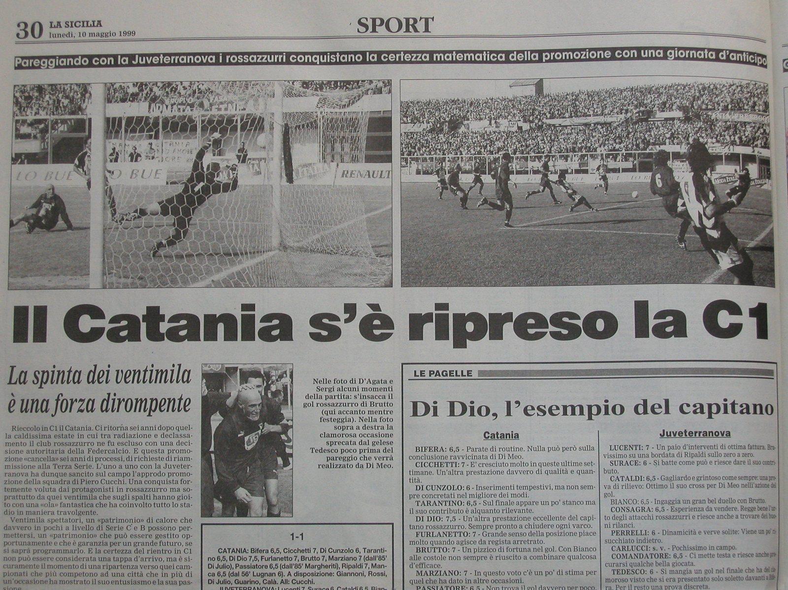 Articolo de La Sicilia sulla promozione in C1 del 9 maggio 1999